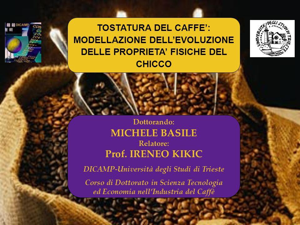 TOSTATURA DEL CAFFE': MODELLAZIONE DELL'EVOLUZIONE DELLE PROPRIETA' FISICHE DEL CHICCO