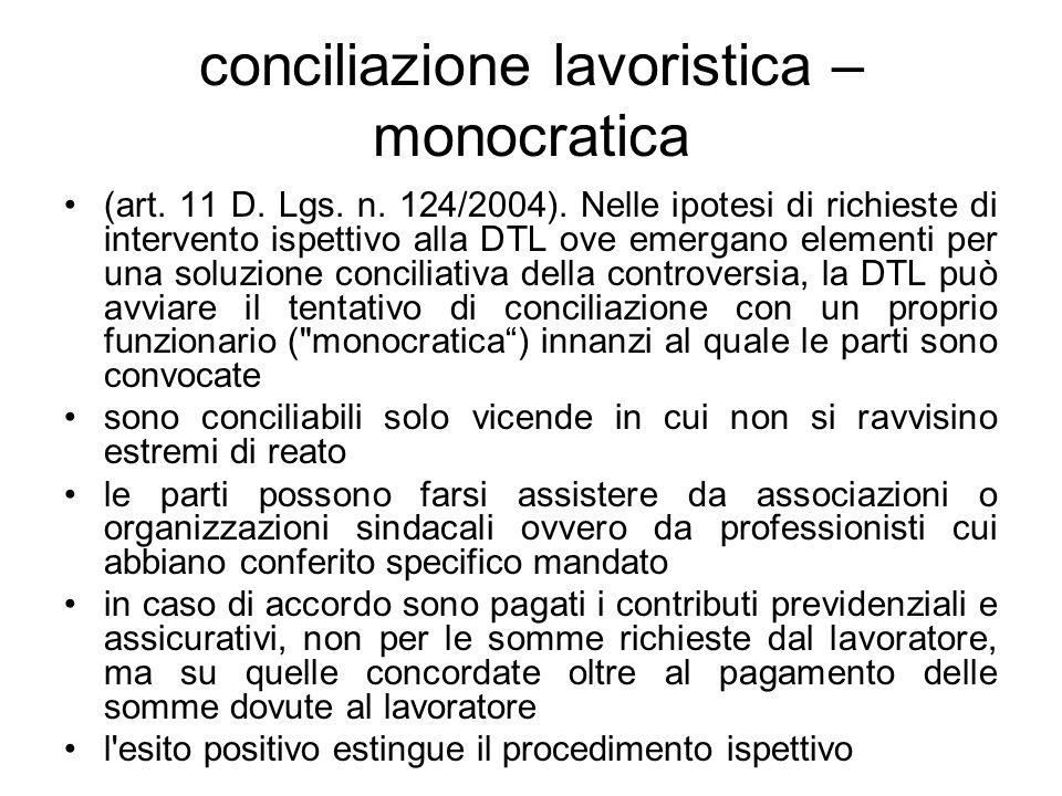conciliazione lavoristica –monocratica