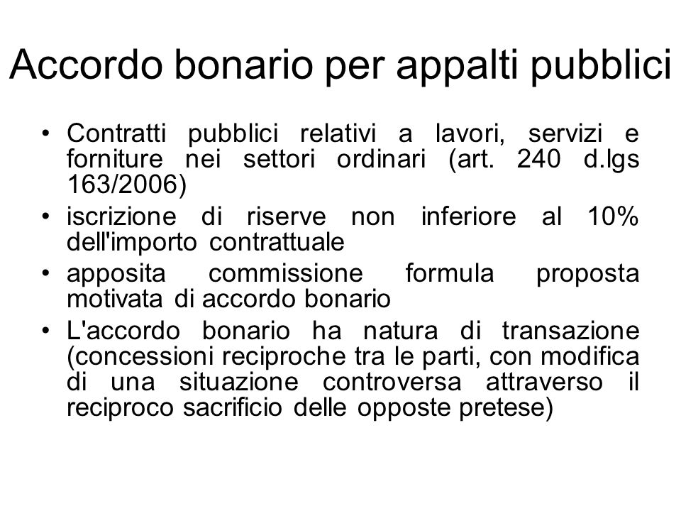 Accordo bonario per appalti pubblici