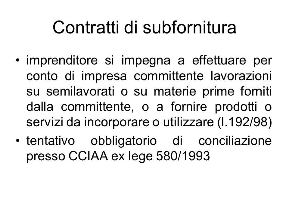 Contratti di subfornitura