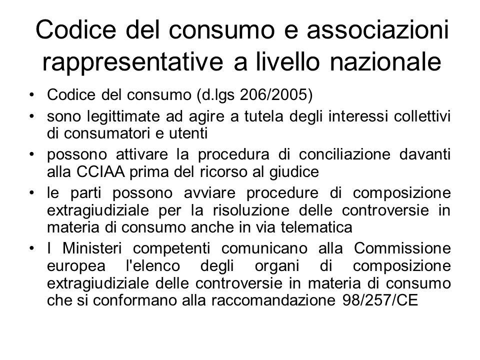 Codice del consumo e associazioni rappresentative a livello nazionale