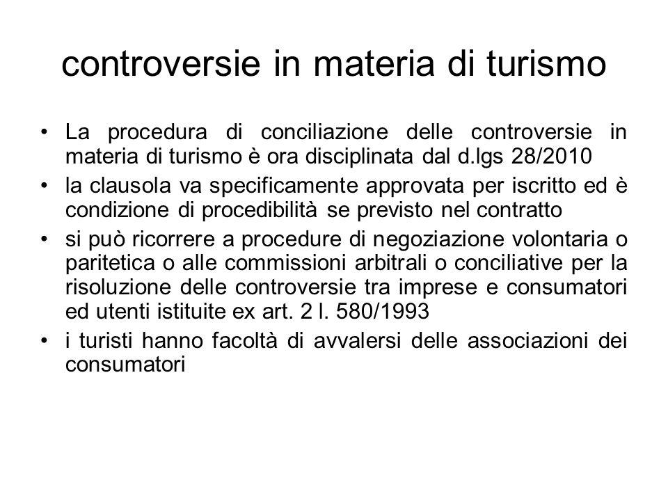 controversie in materia di turismo