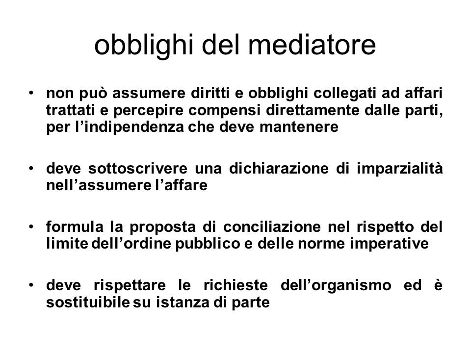 obblighi del mediatore