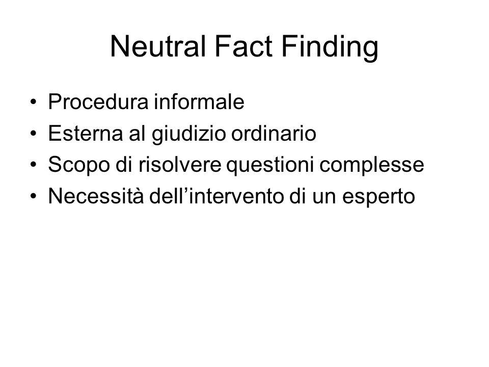 Neutral Fact Finding Procedura informale Esterna al giudizio ordinario