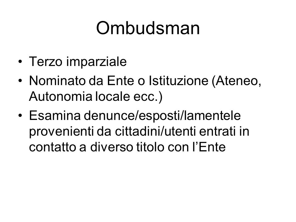 Ombudsman Terzo imparziale