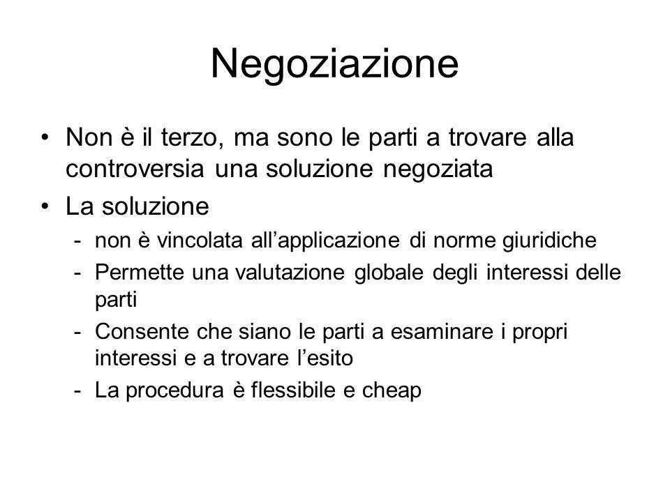 Negoziazione Non è il terzo, ma sono le parti a trovare alla controversia una soluzione negoziata. La soluzione.