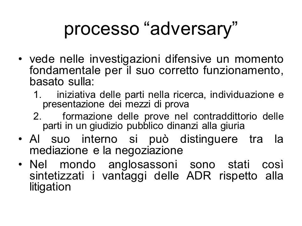 processo adversary vede nelle investigazioni difensive un momento fondamentale per il suo corretto funzionamento, basato sulla: