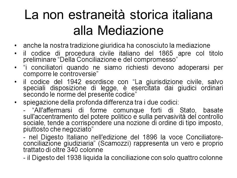 La non estraneità storica italiana alla Mediazione