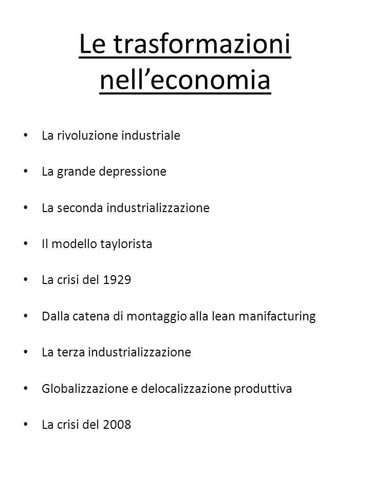 Le trasformazioni nell'economia
