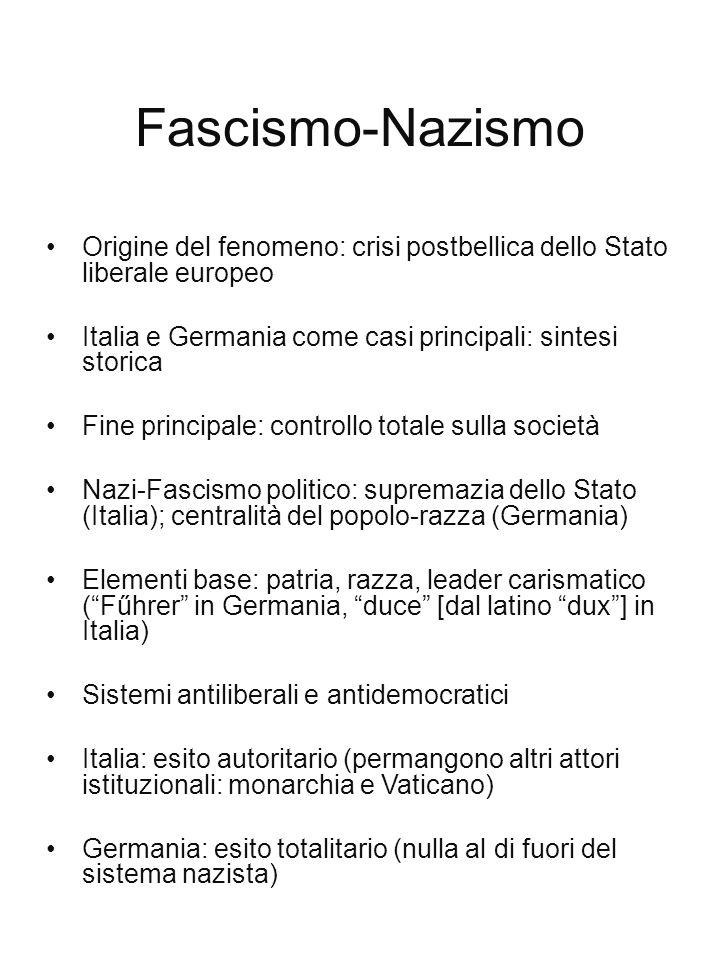 Fascismo-Nazismo Origine del fenomeno: crisi postbellica dello Stato liberale europeo. Italia e Germania come casi principali: sintesi storica.
