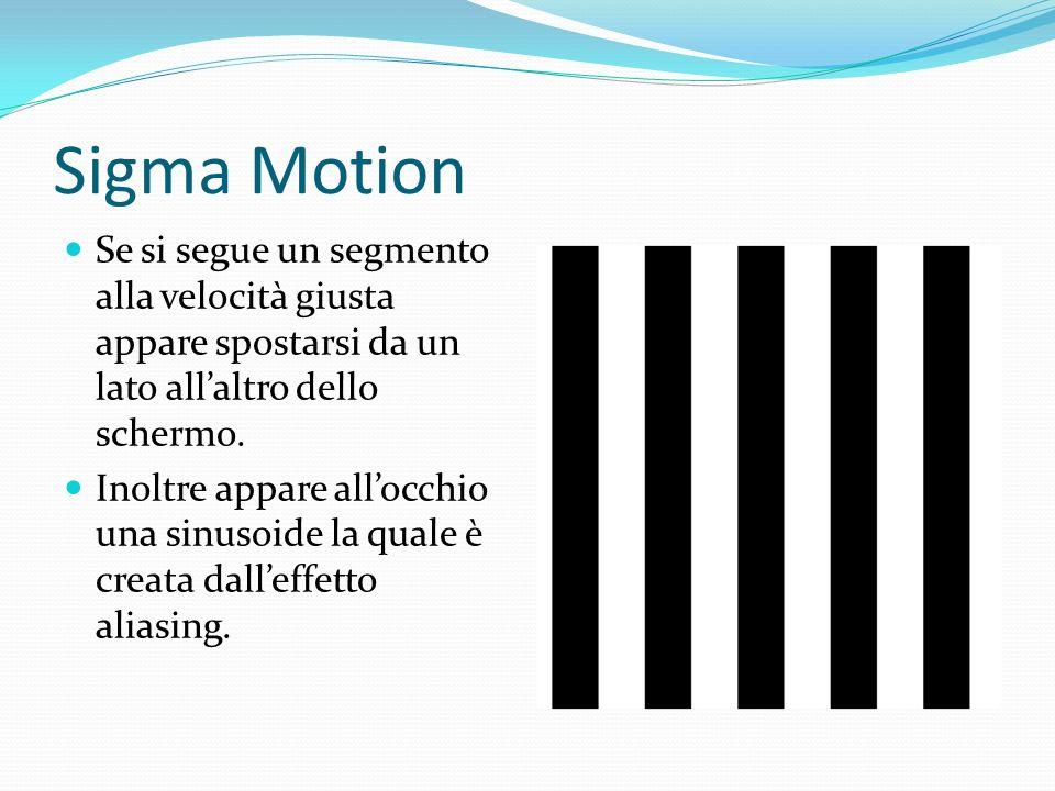 Sigma Motion Se si segue un segmento alla velocità giusta appare spostarsi da un lato all'altro dello schermo.