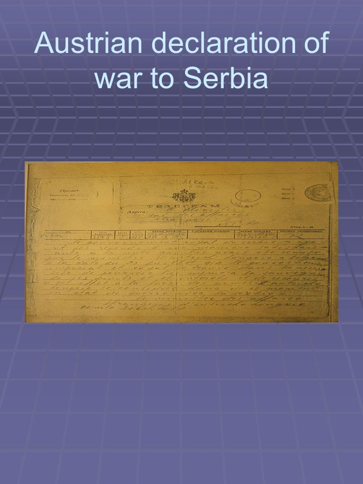 Austrian declaration of war to Serbia
