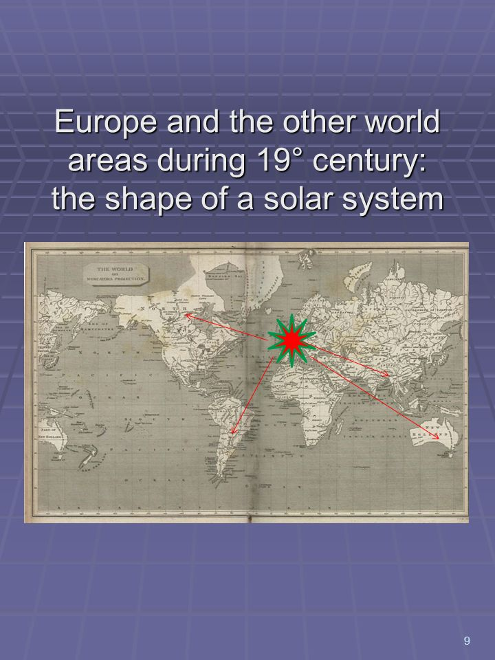 Europe and the other world areas during 19° century: the shape of a solar system