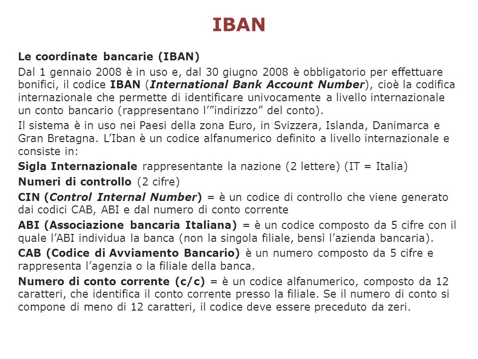 IBAN Le coordinate bancarie (IBAN)