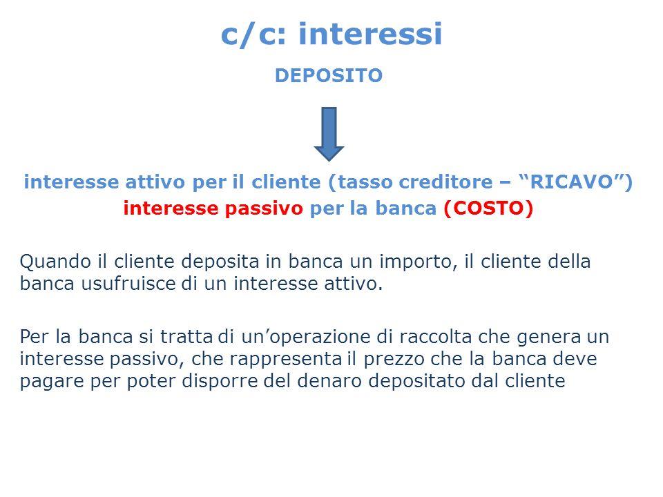 c/c: interessi DEPOSITO