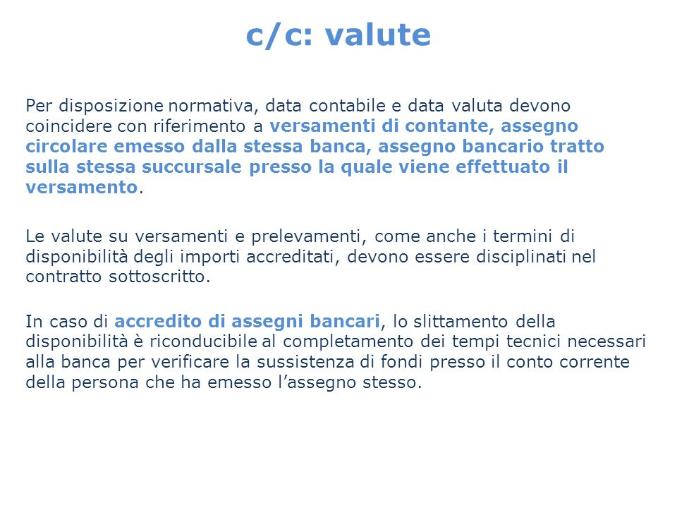 c/c: valute