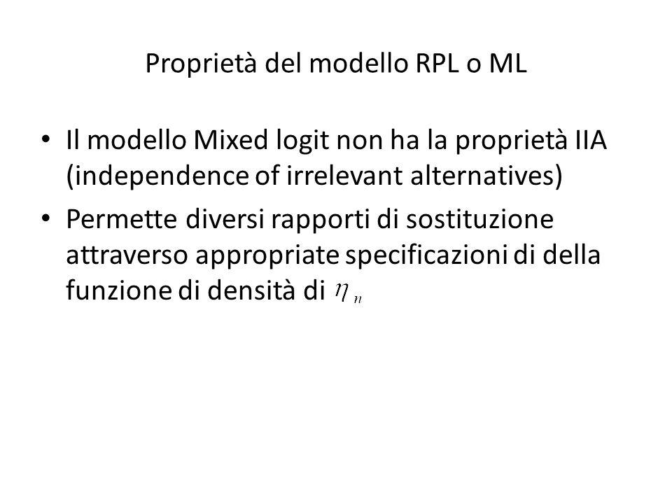 Proprietà del modello RPL o ML