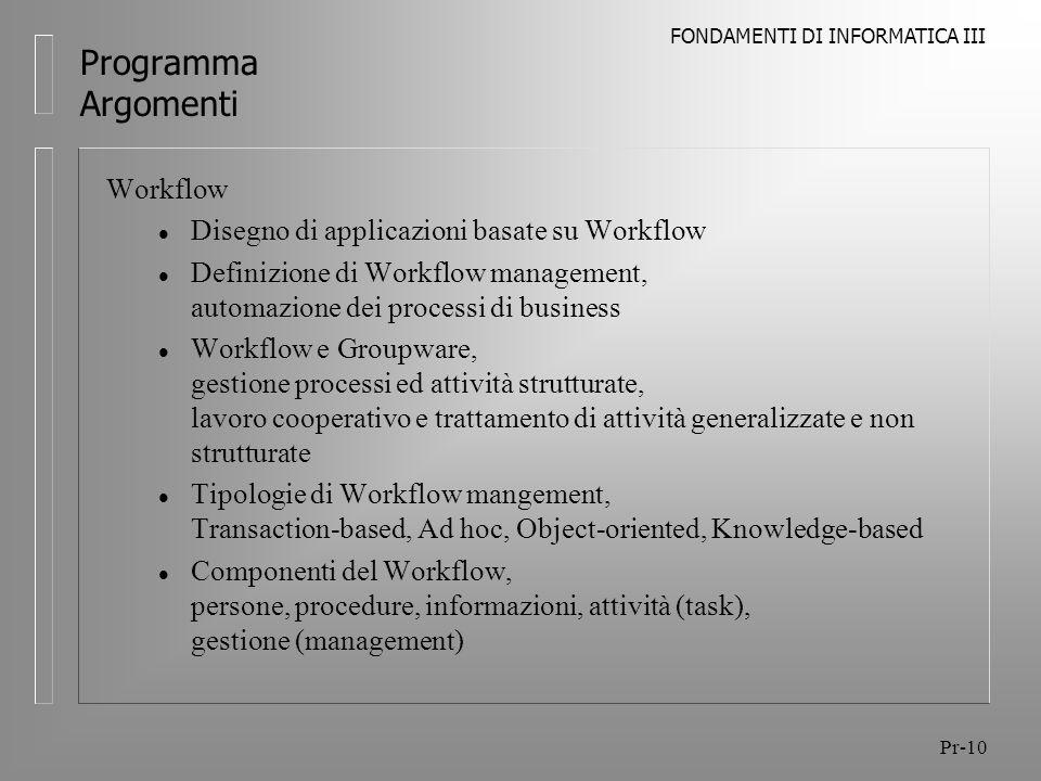 Programma Argomenti Workflow