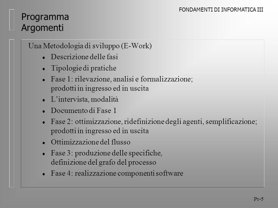 Programma Argomenti Una Metodologia di sviluppo (E-Work)