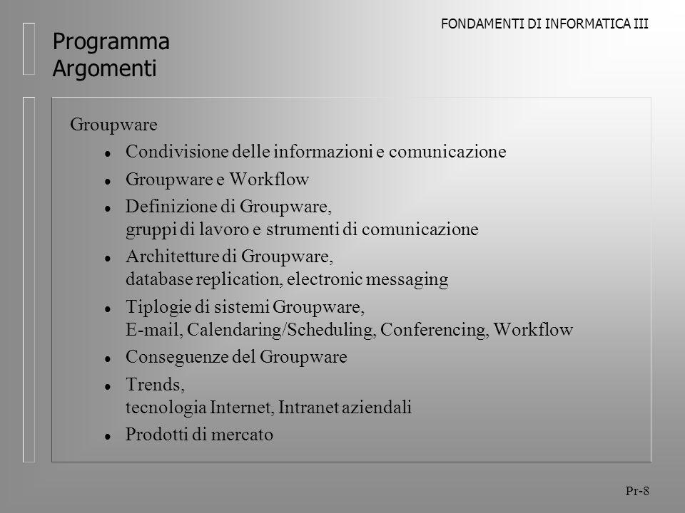 Programma Argomenti Groupware
