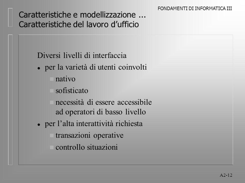 Caratteristiche e modellizzazione ... Caratteristiche del lavoro d'ufficio