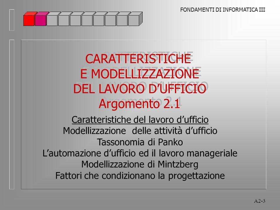 CARATTERISTICHE E MODELLIZZAZIONE DEL LAVORO D'UFFICIO Argomento 2.1