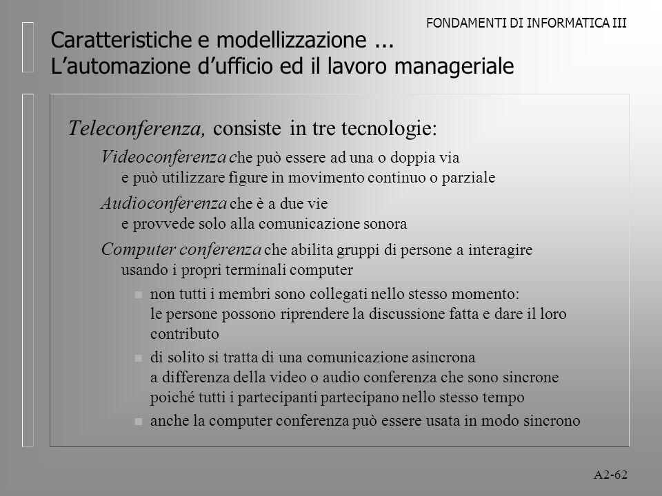 Teleconferenza, consiste in tre tecnologie: