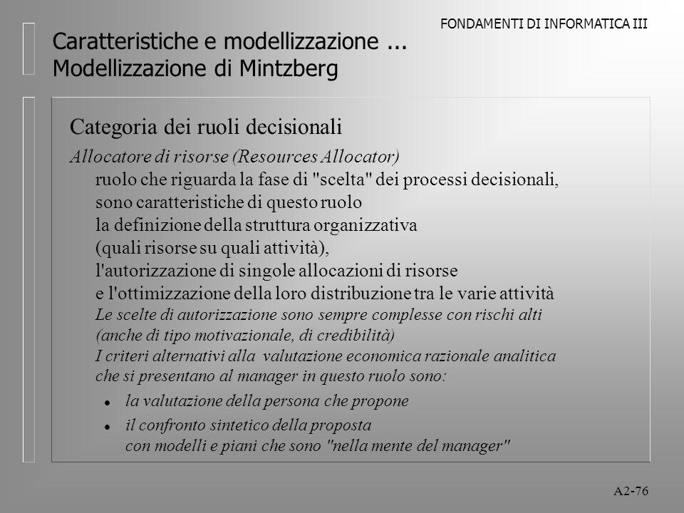 Caratteristiche e modellizzazione ... Modellizzazione di Mintzberg