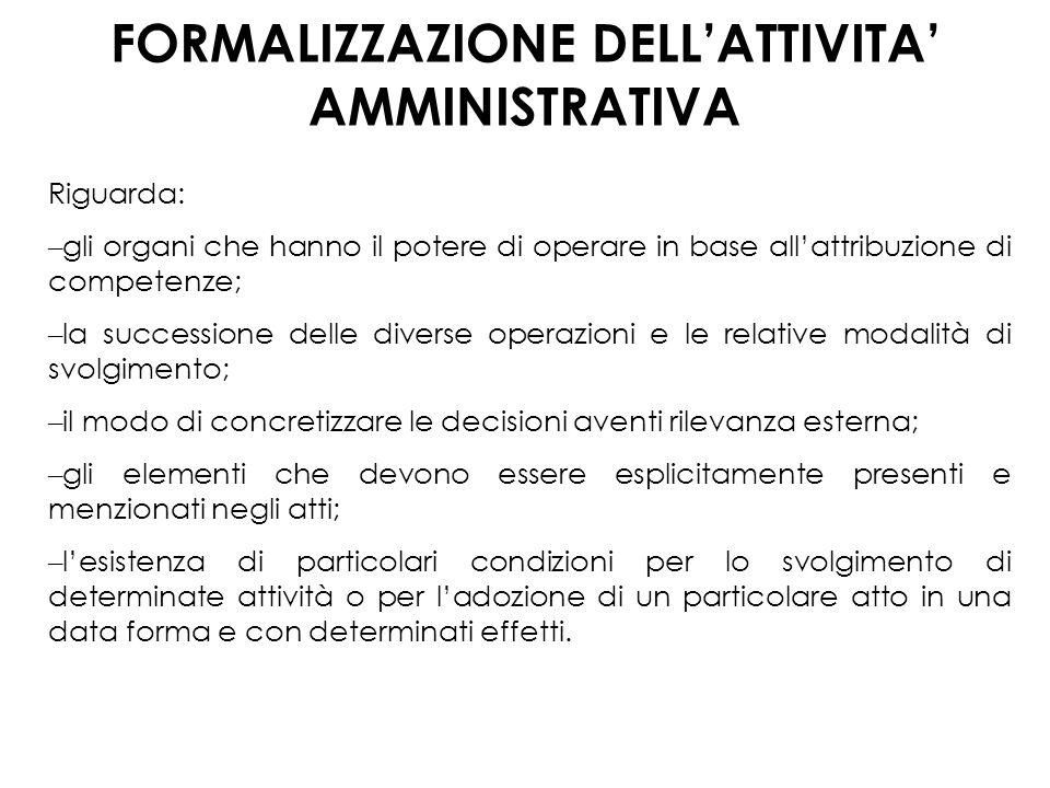FORMALIZZAZIONE DELL'ATTIVITA' AMMINISTRATIVA