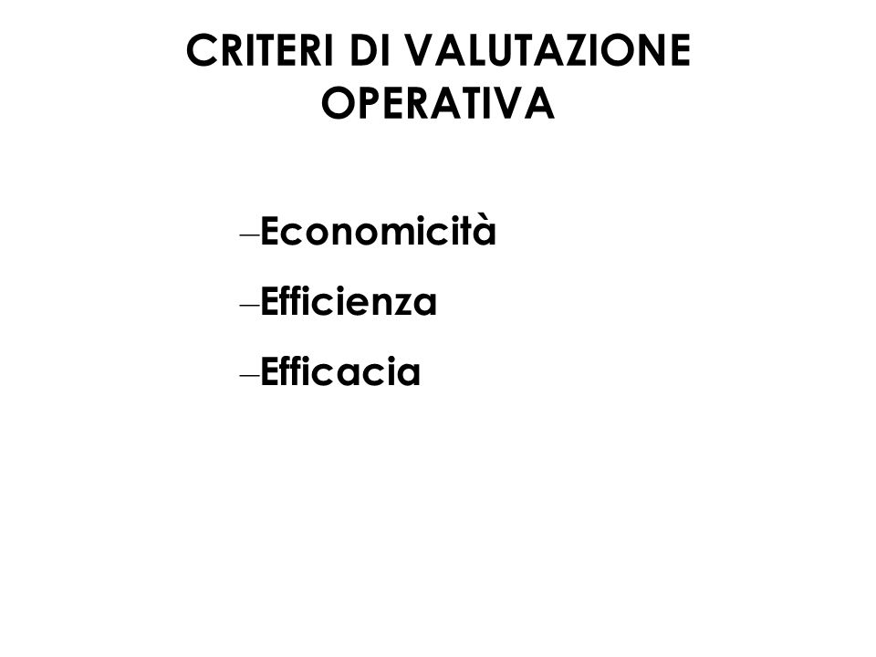 CRITERI DI VALUTAZIONE OPERATIVA