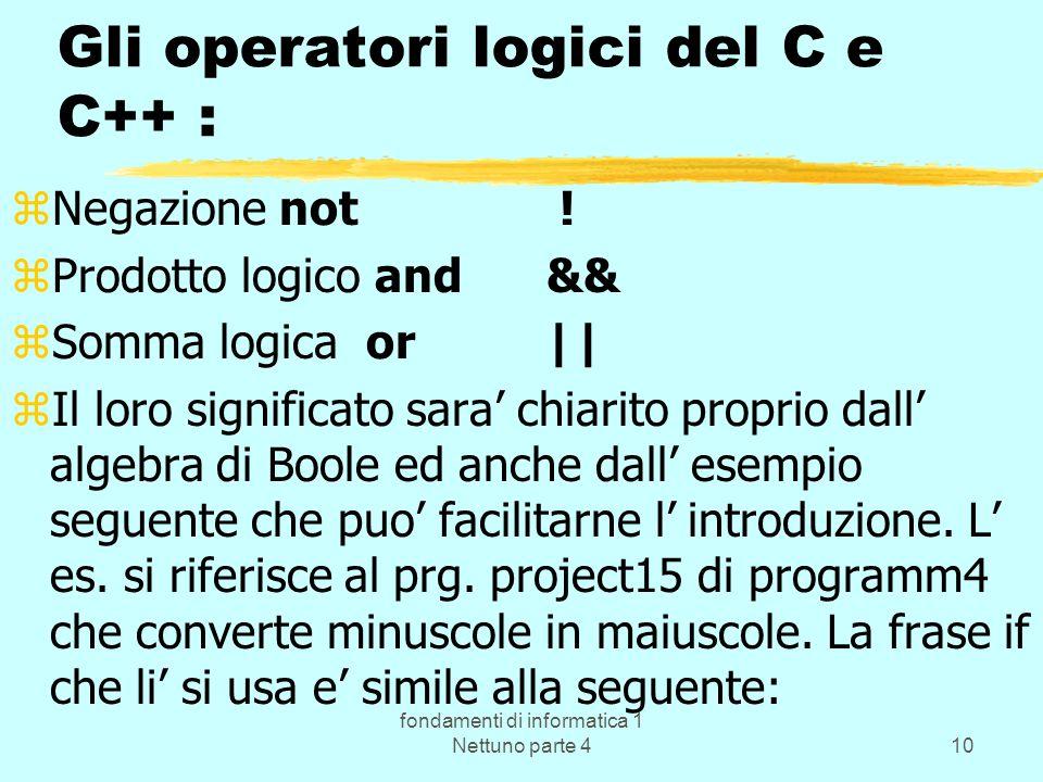 Gli operatori logici del C e C++ :