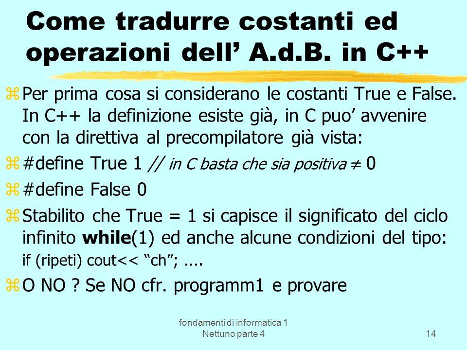Come tradurre costanti ed operazioni dell' A.d.B. in C++