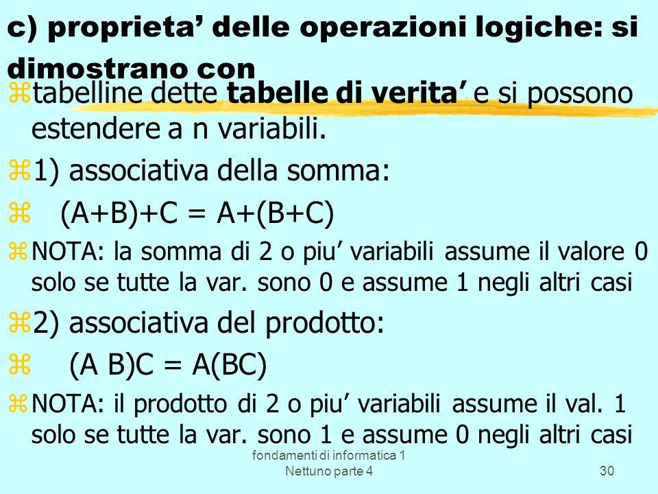 c) proprieta' delle operazioni logiche: si dimostrano con