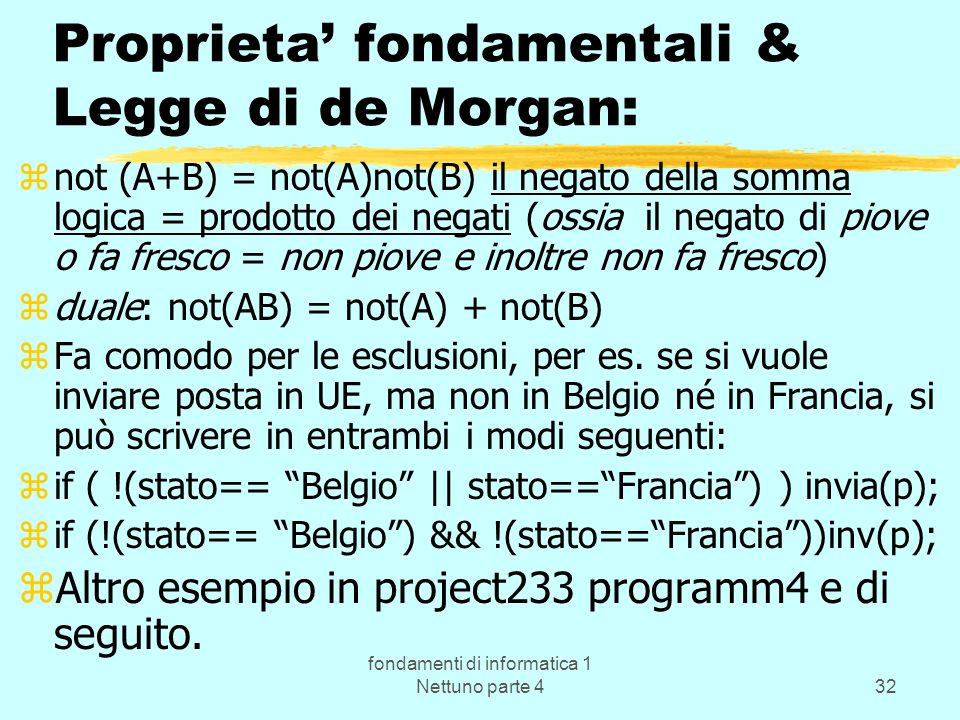 Proprieta' fondamentali & Legge di de Morgan: