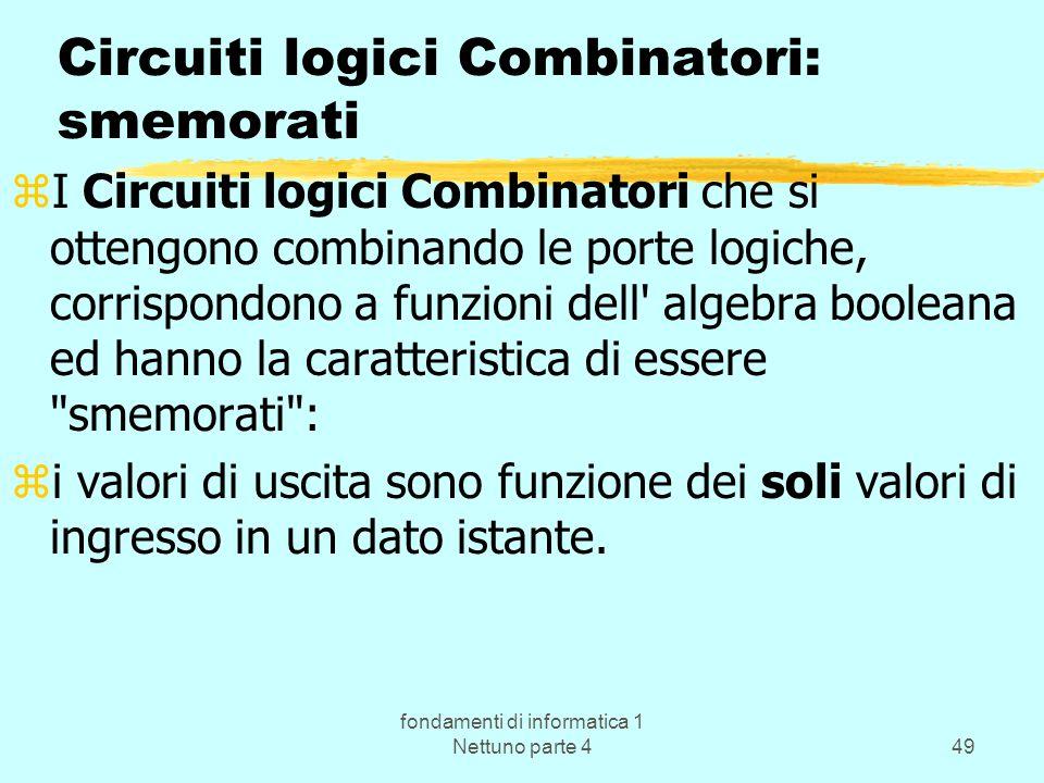 Circuiti logici Combinatori: smemorati