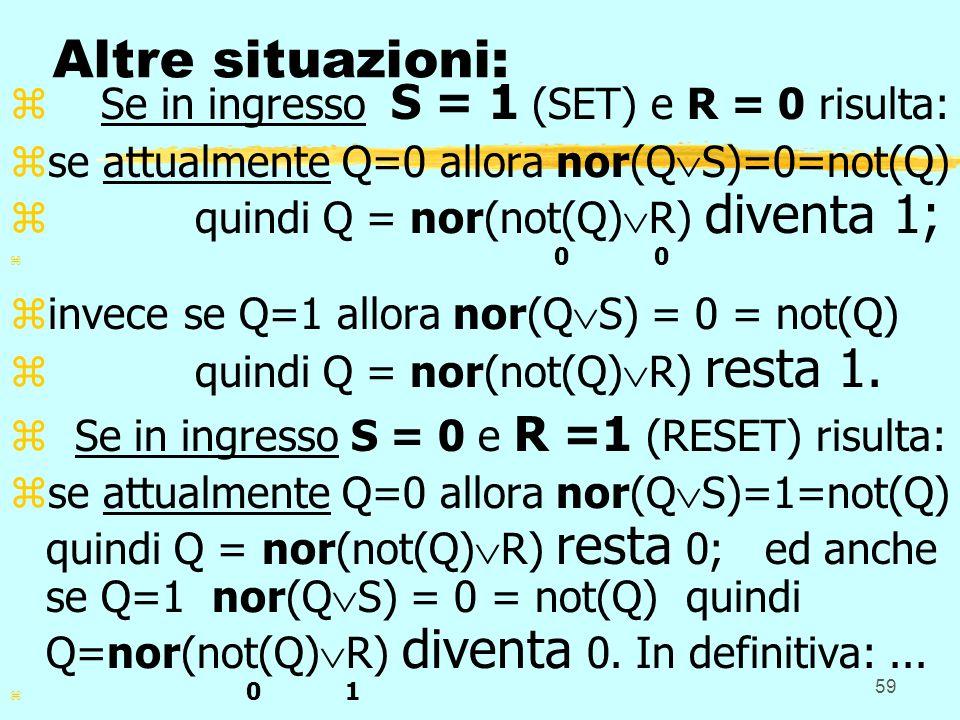 Altre situazioni: Se in ingresso S = 1 (SET) e R = 0 risulta:
