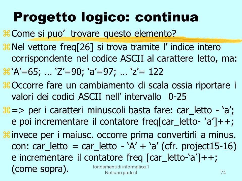Progetto logico: continua