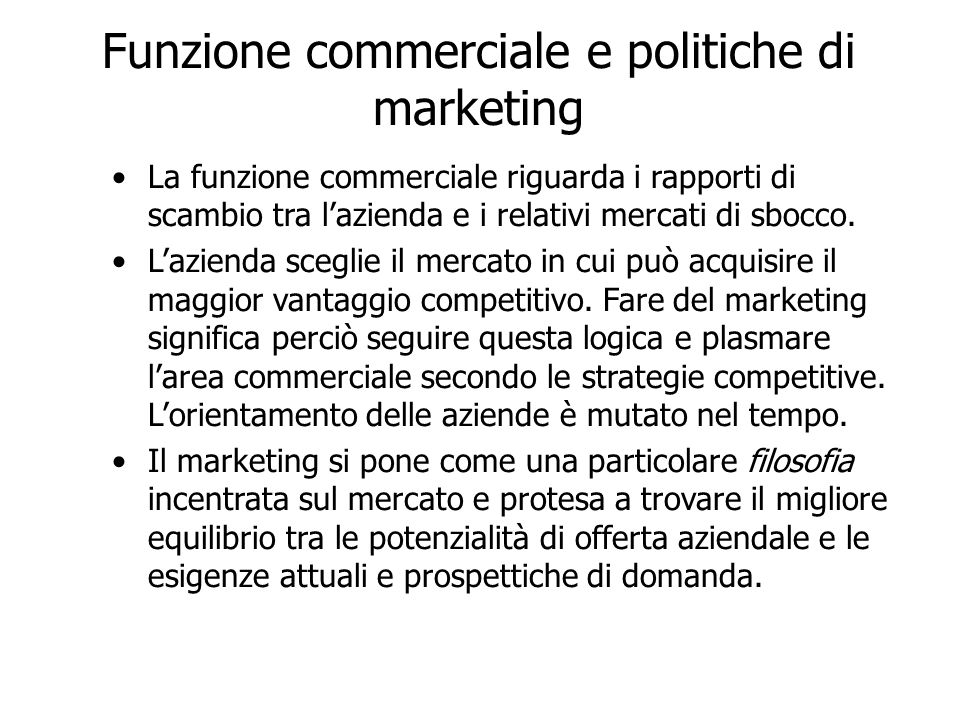 Funzione commerciale e politiche di marketing