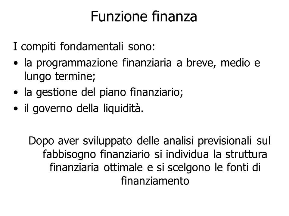Funzione finanza I compiti fondamentali sono: