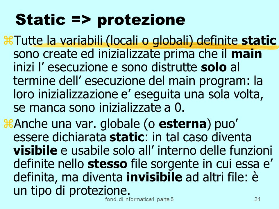 Static => protezione
