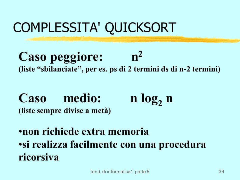 COMPLESSITA QUICKSORT