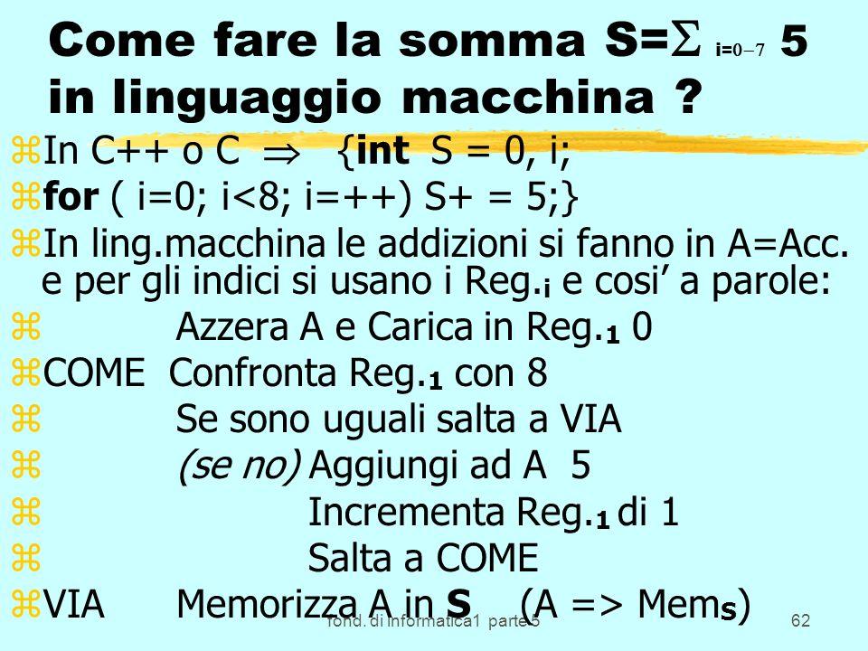 Come fare la somma S=S i=0-7 5 in linguaggio macchina