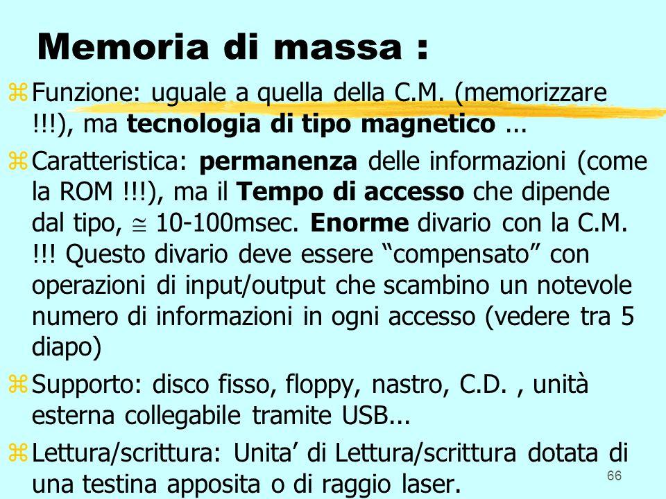 Memoria di massa : Funzione: uguale a quella della C.M. (memorizzare !!!), ma tecnologia di tipo magnetico ...