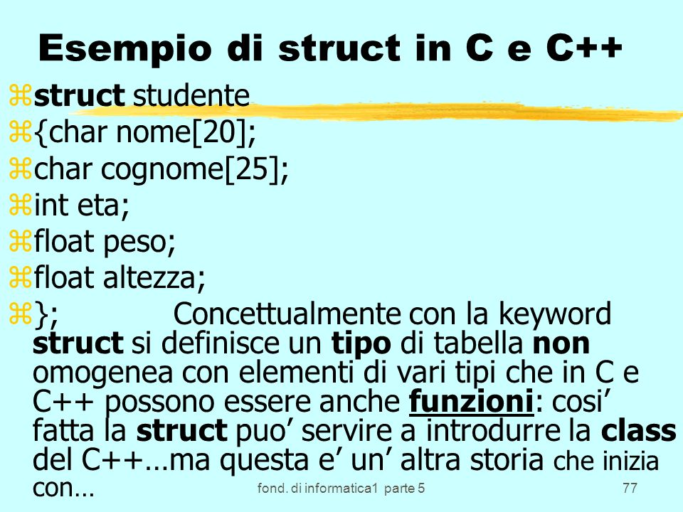 Esempio di struct in C e C++