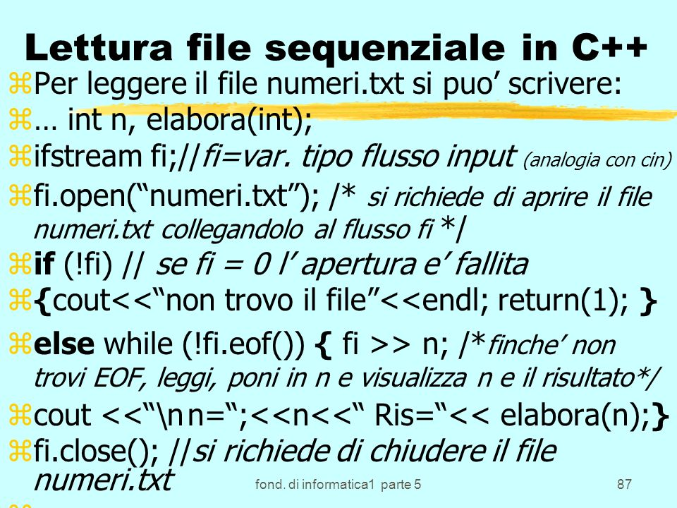 Lettura file sequenziale in C++