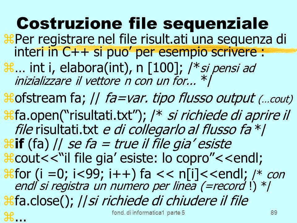 Costruzione file sequenziale