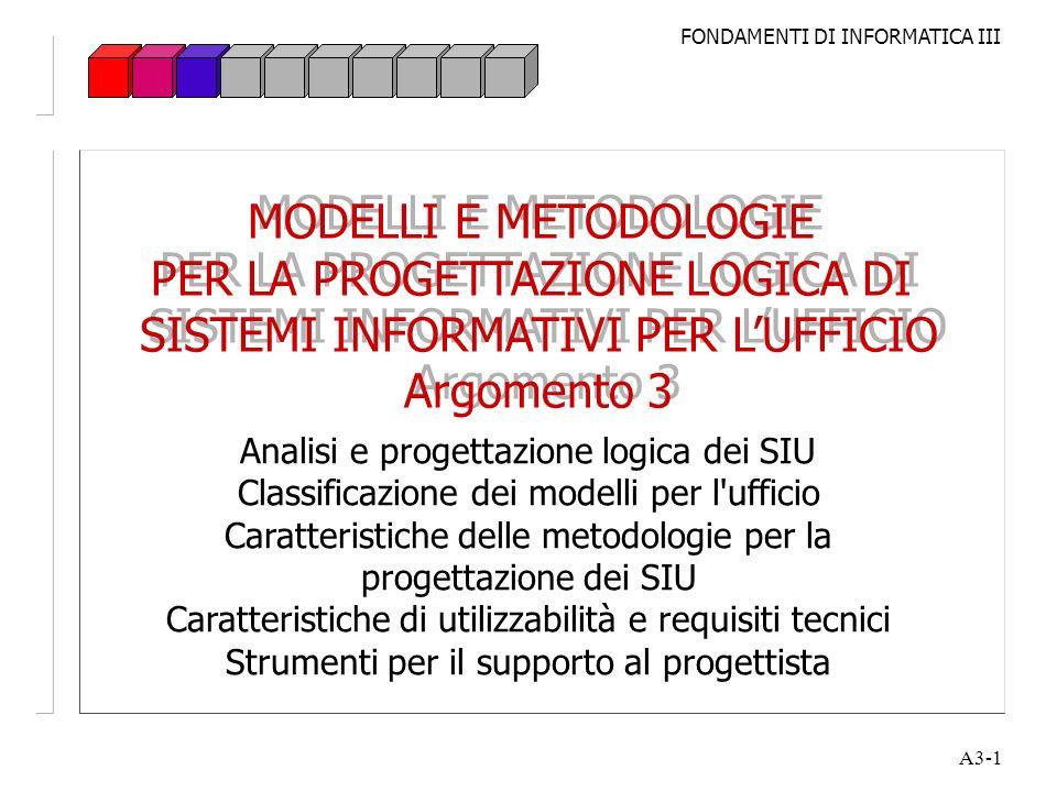 MODELLI E METODOLOGIE PER LA PROGETTAZIONE LOGICA DI SISTEMI INFORMATIVI PER L'UFFICIO