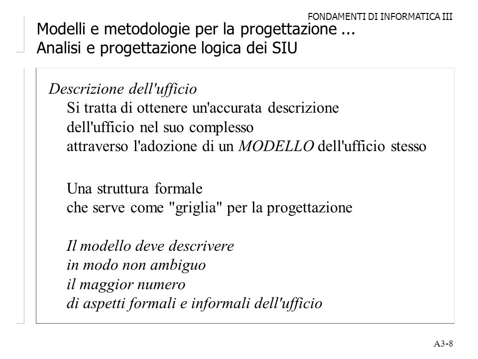 Modelli e metodologie per la progettazione