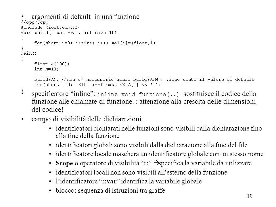 argomenti di default in una funzione