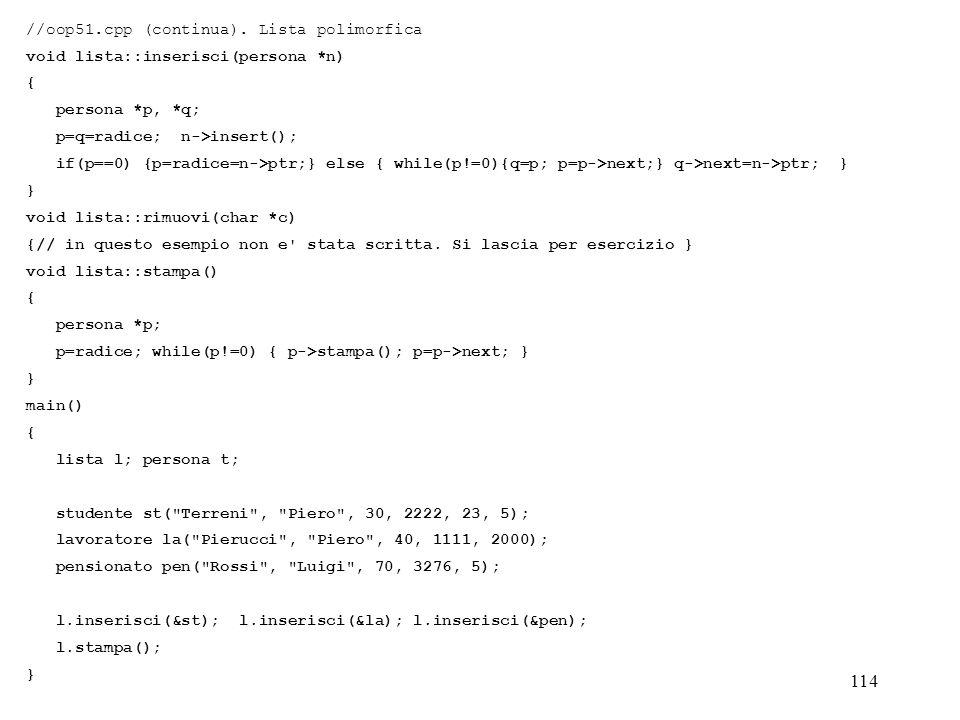 //oop51.cpp (continua). Lista polimorfica